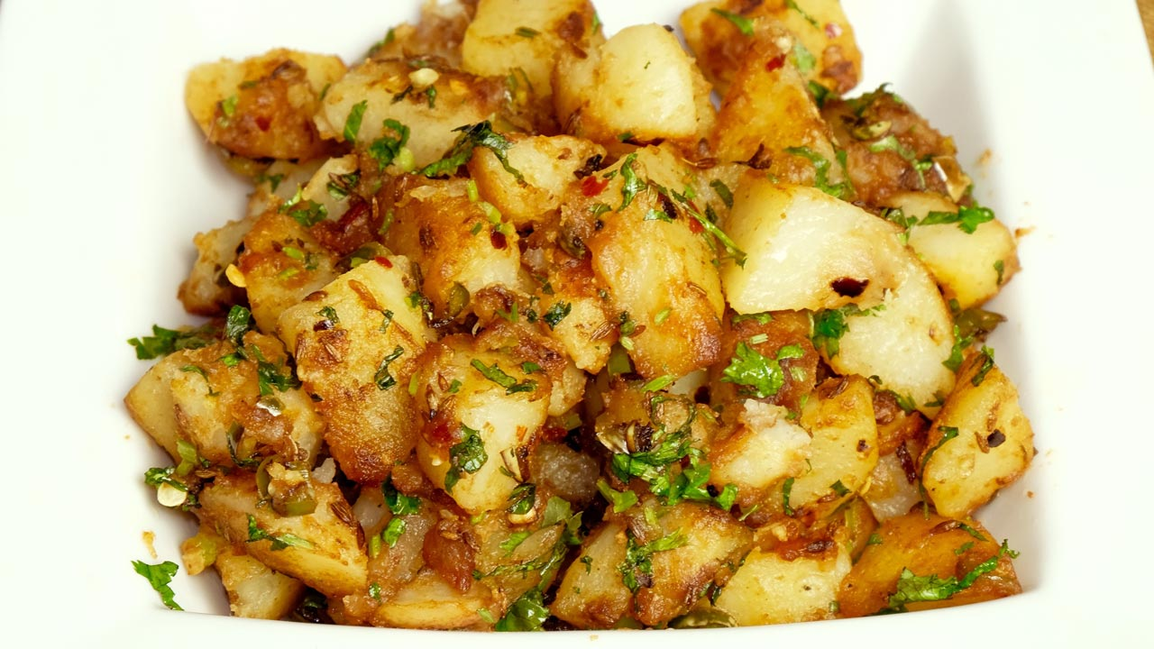 Chatpate aloo spicy stir fry potatoes manjula 39 s for Indian potato recipes for lunch