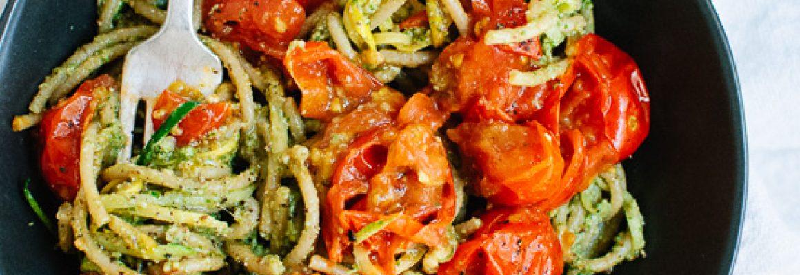 pesto-squash-noodles-and-spaghetti-with-burst-cherry-tomatoes